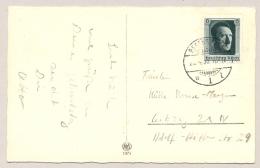 Deutsches Reich - 1937 - 6 + 19 Pf Geburtstag Hitler On Postcard From Regensburg To Leipzig - Brieven En Documenten