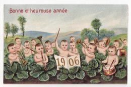 Carte Fantaisie   BEBES MULTIPLES   Millesime Année 1906   Choux    Carte Gaufrée - Bébés