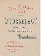 Dépliant Prix Courant 1908 - G. Turrel Négociants à Bordeaux, Propriétaires à Blanquefort - Advertising