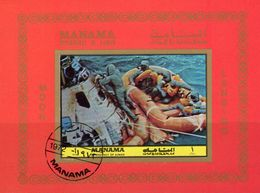Apollo 11 USA-Raumflug 1972 Manama Block 207 B O 6€ NASA Landung Im Meer Hoja S/s Bloc Spaceship M/s Sheet Bf Space - Space