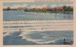 Ohio Zanesville Fishing At Muskingum River Dam From Y Bridge 1940 Curteich - Zanesville