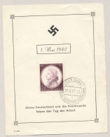 Deutsches Reich - 1942 - 6+4 Pf Todestag Mozart On Leaflet Den Haag - Deutsche Dienstpost Niederlande - Brieven En Documenten