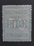 """ITALIA Regno Segnatasse -1884- """"Cifre Bianche"""" £. 50 S.G. (descrizione) - Impuestos"""