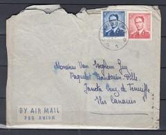 Brief Van Blankenberge D1D Naar Teneriffe Par Avion - 1953-1972 Lunettes