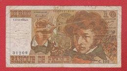 Berloz  --  10  Francs 3/10/1974 -  état  TB  -  N C 105 - 1962-1997 ''Francs''