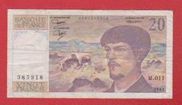 Debussy   --  20  Francs 1983 -  état  TB  -  N M 011 - 1962-1997 ''Francs''