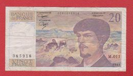 Debussy   --  20  Francs 1983 -  état  TB  -  N M 011 - 20 F 1980-1997 ''Debussy''