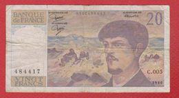 Debussy   --  20  Francs 1980 -  état  TB  -  N C . 005 - 1962-1997 ''Francs''
