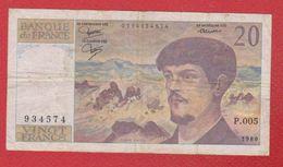 Debussy   --  20  Francs 1980 -  état  TB  -  N P . 005 - 1962-1997 ''Francs''