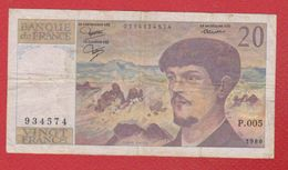 Debussy   --  20  Francs 1980 -  état  TB  -  N P . 005 - 20 F 1980-1997 ''Debussy''