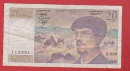 Debussy   --  20  Francs 1982 -  état  TB  -  N O . 009 - 20 F 1980-1997 ''Debussy''