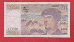 Debussy   --  20  Francs 1981 -  état  TB  -  N Y .008 - 1962-1997 ''Francs''