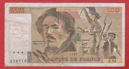 Delacroix  --  100  Francs 1981 -  état  TB  -  N E.52 - 100 F 1978-1995 ''Delacroix''