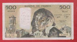 Pascal   --  500  Francs 2/7/1981  -  état  TB  -  N M .142 - 500 F 1968-1993 ''Pascal''