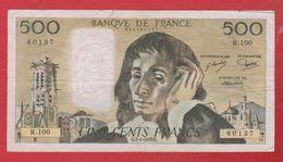 Pascal   --  500  Francs  5/9/1979  -  état  TB  -  N R .100 - 1962-1997 ''Francs''