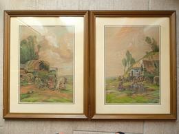 LORRAINE - Raymond URBAIN (1895-1962) Campement De Tsiganes - Paire De Pastels Signés - Pastelli