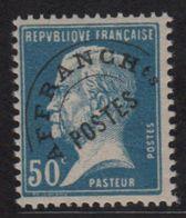 Préo - N°68 - 50c Bleu Type Pasteur - Neuf Sans Charniere Infimes Adherences - Cote 285€ - Préoblitérés