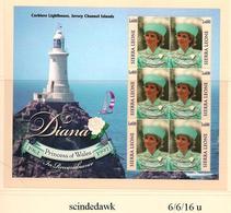 SIERRA LEONE - CORBIERE LIGHTHOUSE / DIANA REMEMBRANCE - MIN SHEET - MINT NH - Lighthouses