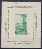 U.S.A  1937 FOGLIETTO SOCIETA' FILATELICA AMERICANA IN ASHEVILLE UNIF. BF 8 MNH VF - Blocs-feuillets
