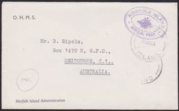 NORFOLK IS 1963 Small Official Cover To Australia..........................67269 - Norfolk Island