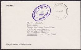 NORFOLK IS 1968 Small Official Cover To Australia..........................67271 - Norfolk Island