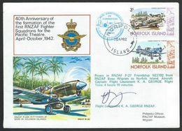 NORFOLK IS 1982 RNZAF Fighter Squadron Signed Commem Cover.................56583 - Norfolk Island