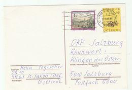1993 St Jakob In Defereggen AUSTRIA 1s Stamps On UPRATED 4s FLOWER  Postal STATIONERY CARD Cover - Stamped Stationery