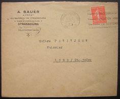 1929 Strasbourg A Bauër Avocat Avec Oblitération Mécanique Lettre Pour Lure - Postmark Collection (Covers)