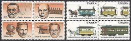 US 1983   Sc#2058a-62  20c Inventors & Streetcars Blocks  MNH** - United States