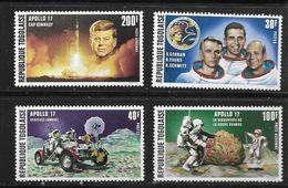 TOGO 1973 APOLLO 17-KENNEDY  YVERT N°769/70-A198/99  NEUF MNH** - Space