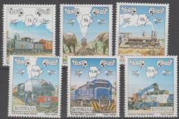BOTSWANA - 1997 Railway Centenary - Trains, Elephants. Scott 638-643. MNH - Botswana (1966-...)