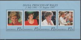 BOTSWANA - 1998 Princess Diana Souvenir Sheet. Scott 663. MNH - Botswana (1966-...)