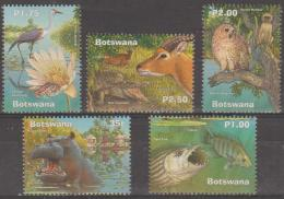 BOTSWANA - 2000 Wetlands - Birds, Fish, Owl, Etc. Scott 705-709. MNH - Botswana (1966-...)