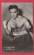 Boxe - Boxeur Français Marcel Cerdan (1916-1949 )- Autographe Pré Imprimé ( Voir Verso ) - Boxe