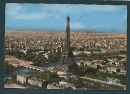 PARIS - Vue Aérienne De La Tour Eiffel, La Seine Et L'Arc De Triomphe De L'Etoile - Eiffelturm
