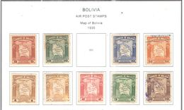 Bolivia PA 1935 Map Bolivia    Scott. C42+43+C45/51+ See Scans On Scott.Page - Bolivia