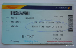 Jet Airways Boarding Pass: Brussels To Newark Travel Date: 29-04-2013 - Boarding Passes