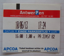 BELGIUM Antwerpen Parking Ticket (Year: 2013) - Transports