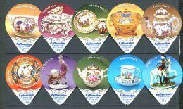 507 - Porcelaine - Serie Complete De 10 Opercules Suisse Floralp - Milk Tops (Milk Lids)