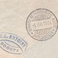 Lettre Bogota 1934 Colombie Colombia Correo Aereo Mancomun G.G. Antoine Marcinelle Charleroi Belgique - Colombia