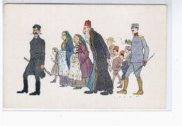Salonique- Gendarme Cretois Israelite Et Officier Serbe.illustrateur.judaica Ca 1920 OLD POSTCARD 2 Scans - Grèce