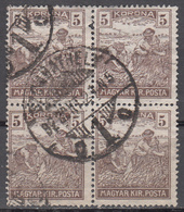 HUNGARY   SCOTT NO. 348     USED    YEAR  1920    NICE CDS BLOCK - Hungría