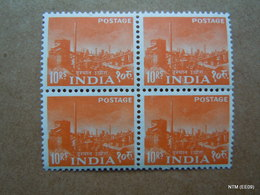 INDIA 1959 Block Of 4 Stamps Of 10 Rs. 5th Anniversary Of Republic, Five Years Plan MNH - Hojas Bloque