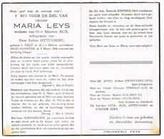 Ingelmunster, Tielt: 1956, Maria Leys ( 2 Scans) - Imágenes Religiosas