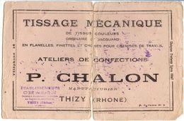 TISSAGE MECANIQUE - ATELIERS DE CONFECTION P. CHALON à THIZY (RHONE) - Textile & Clothing