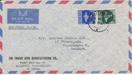 India Air Mail Cover Sent To Dennmark 19-6-1967 With MAP On The Stamps - Airmail
