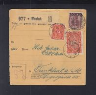 Dt. Reich Paketkarte 1922 Wiesloch Nach FRanjkfurt Am Main Geprüft - Deutschland