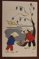 ENFANTS CHINOIS S'EXERCANT A L'ART DE LA PECHE - China