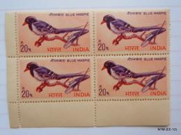 INDIA 1968, 20 P. INDIAN BIRDS MNH BLOCK OF FOUR. SG 578. - Hojas Bloque