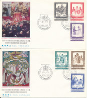 Vatican FDC 16-3-1965 POPE PAOLO VI  Visit To UGANDA Complete Set Of 6 On 2 Covers With Cachet - Covers & Documents